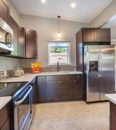 Engineered Quartz Countertops in remodeled kitchen
