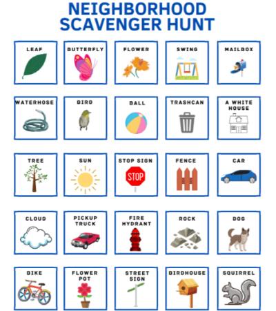 printable neighborhood scavenger hunt