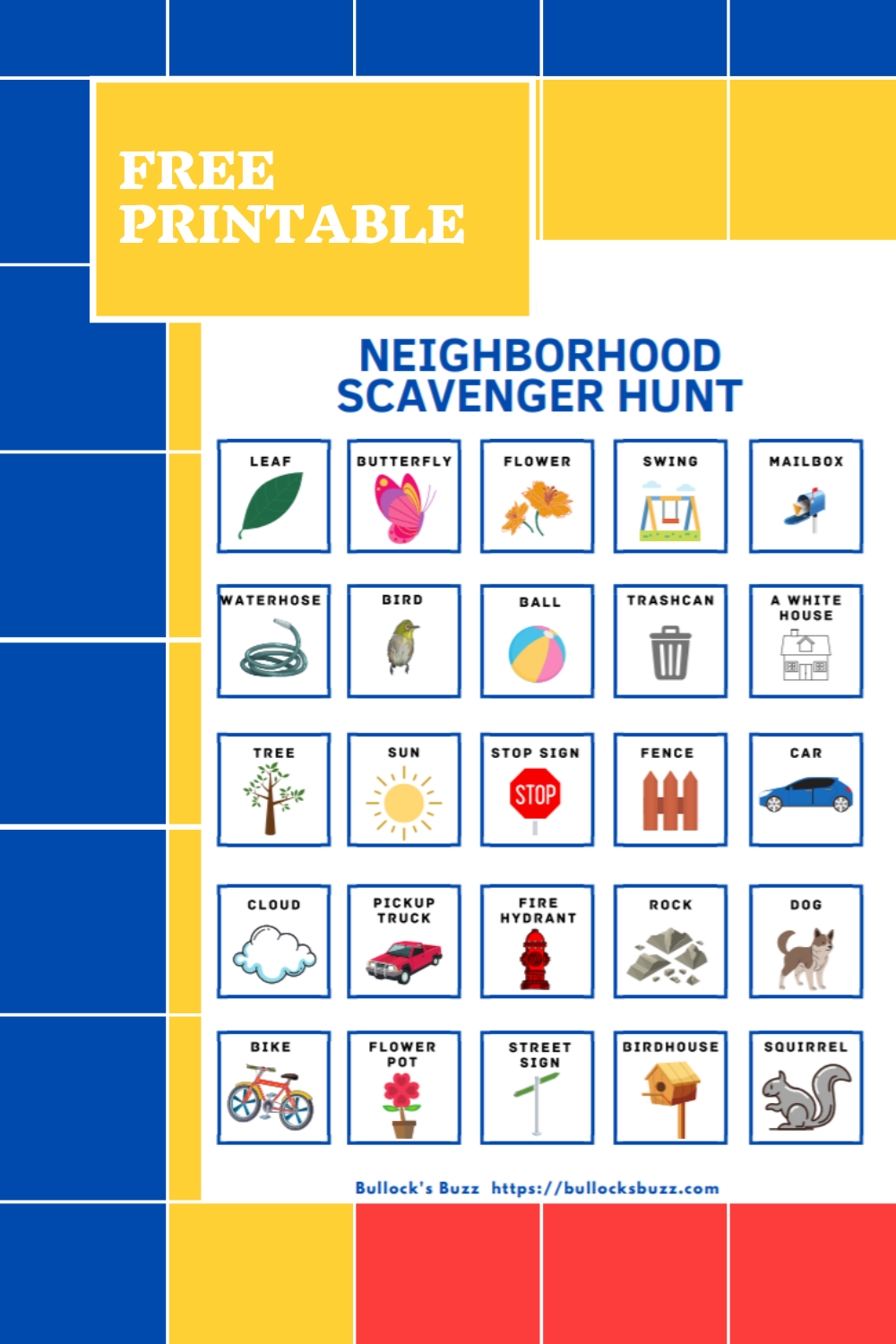 If you're looking for ways to keep the kids entertained, send them on a fun-filled neighborhood scavenger hunt with this free printable! #printable #kids #scavengerhunt