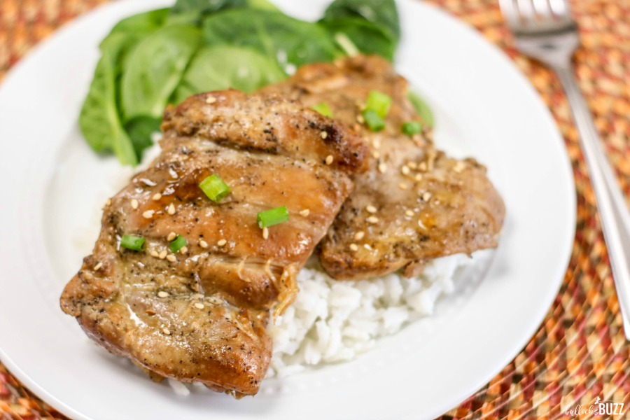 grilled sesame chicken garnished with sesame seeds and green onion