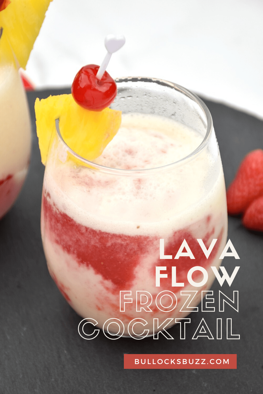 Pineapple, coconut, strawberry, and rum come together to create a deliciously cold and fruity drink in this Lava Flow Cocktail recipe. One sip will transport you to a tropical paradise! #cocktails #lavaflowcocktail