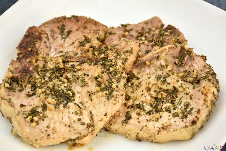 rosemary sage pork chops on plate