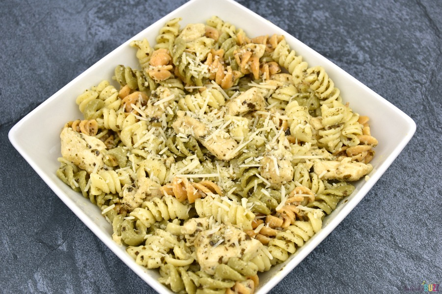 creamy chicken pesto pasta in bowl