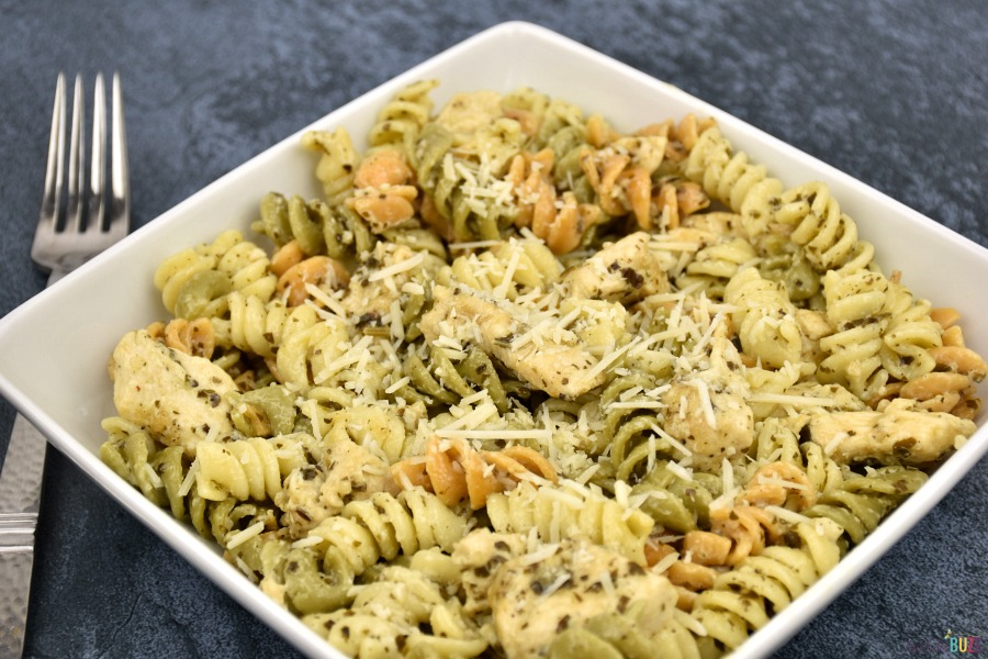pesto pasta with fork
