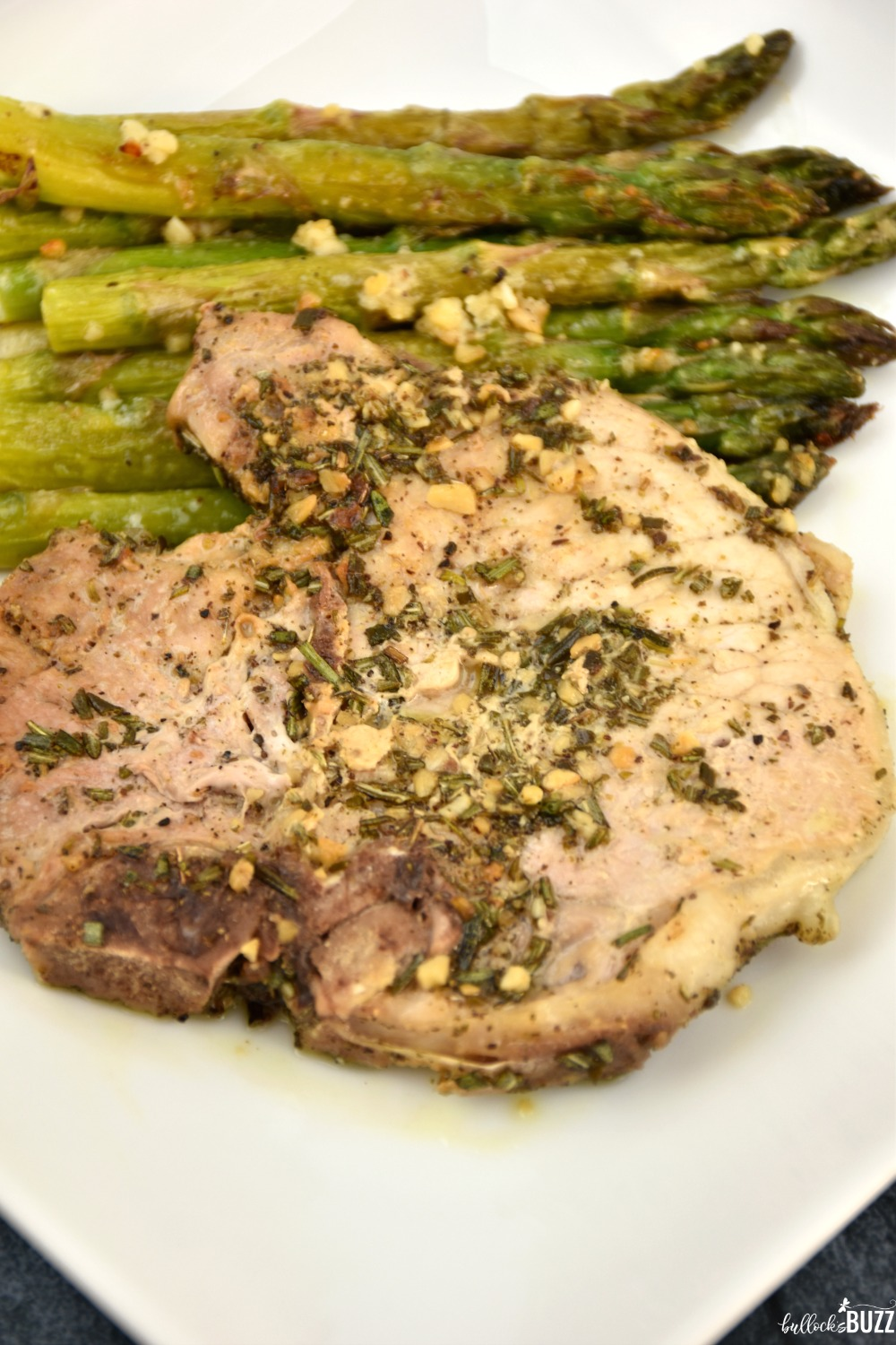 It really doesn't get any easier than this Rosemary Sage Pork Chop dinner recipe. Simply sauté the herbs in olive oil. Add in the pork chops. And cook until they're ready. That's it. You're done!