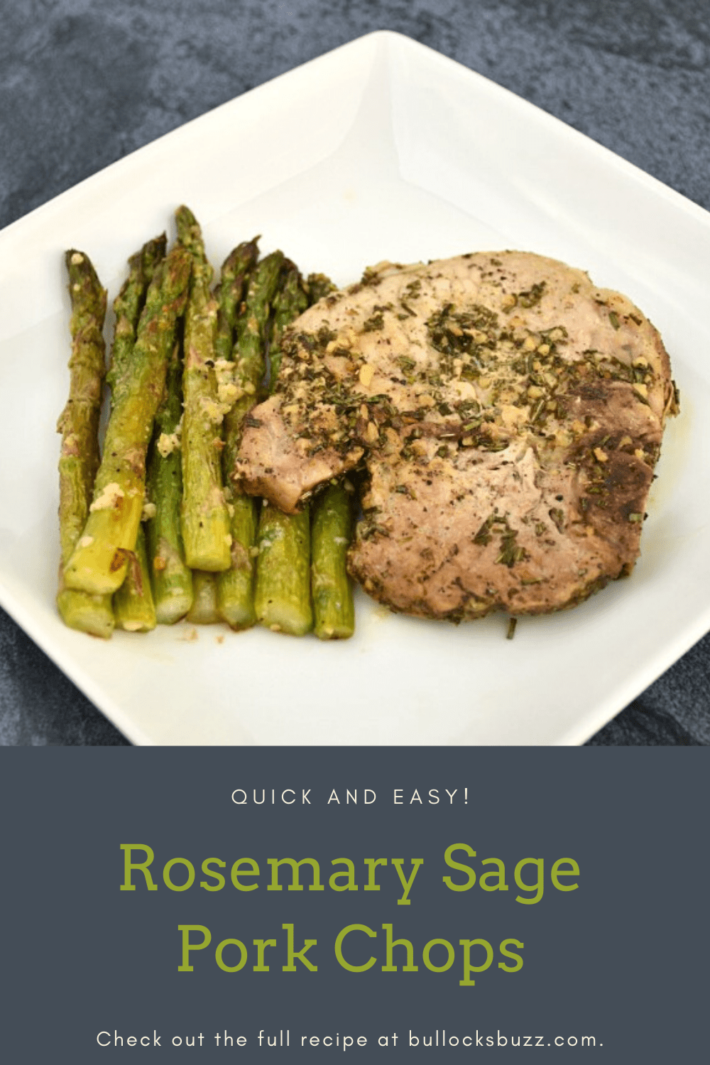 Pork Chops are sauteed in olive oil flavored with fresh rosemary, sage, and garlic resulting in tender and juicy chops that taste as though you spent hours preparing them in this quick and easy Rosemary Sage Pork Chop recipe.