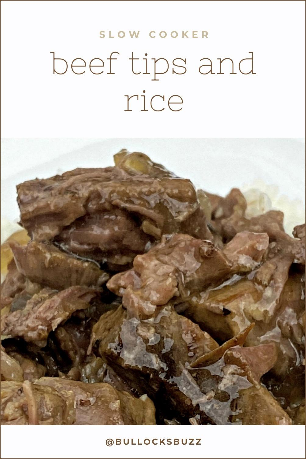 Tender and moist, slow-cooked beef is covered in silky-smooth, delicious gravy and served over a bed of fluffy white rice in this easy Slow Cooker Beef Tips and Rice recipe.