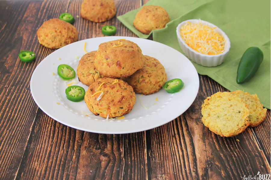 Jalapeño Cheddar Cornbread Muffins on plate
