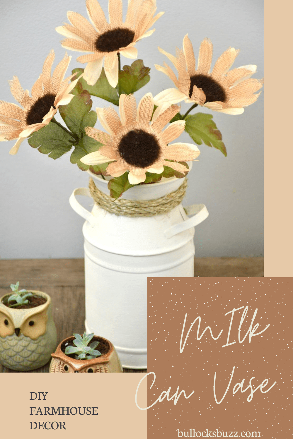 Bring rustic charm to your table with this beautiful piece of DIY farmhouse decor. You can make this simple DIY Milk Can Vase Centerpiece in minutes using nothing more than a galvanized milk can, some paint, a bit of rope, and a few faux flowers.