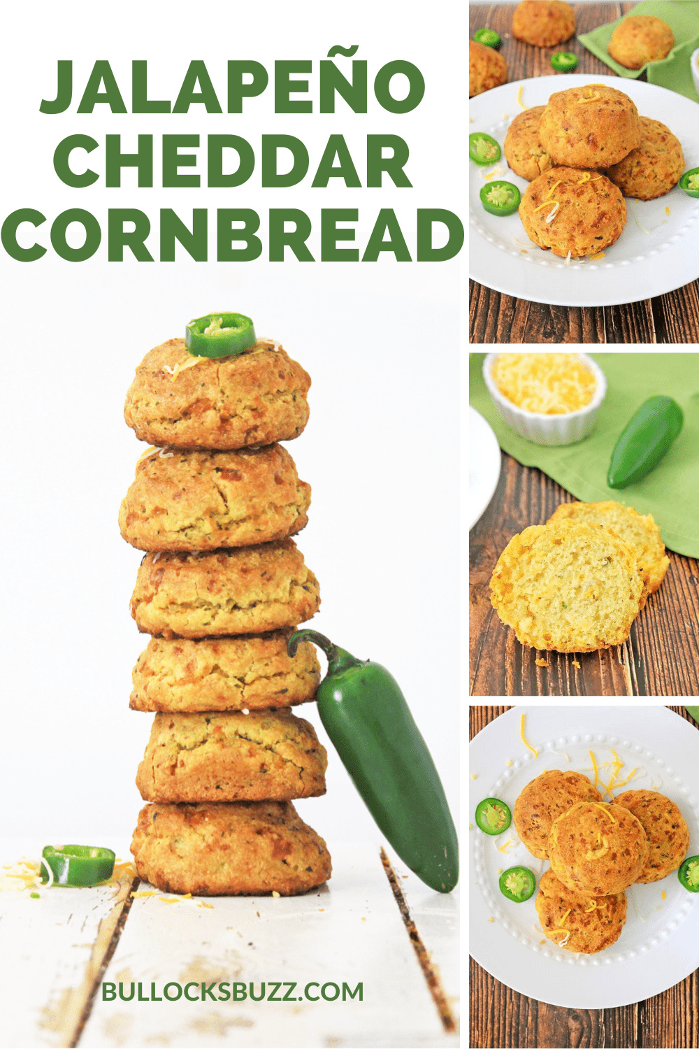 Delicious cornbread muffins are laced with shredded sharp cheddar and slivered jalapeños for a flavor combination that offers just the right amount of sweet and heat in this homemade Jalapeño Cheddar Cornbread Muffins Recipe.