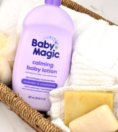 baby magic lotion in basket