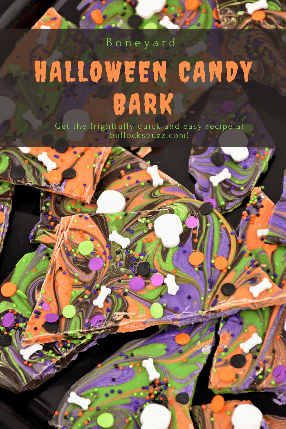 Add a little sweetness to your spooky Halloween celebration with this no-bake Boneyard Halloween Candy Bark. This swirled Halloween Candy Bark recipe is so easy to make, it's scary! Get this Halloween Bark recipe on the Bullock's Buzz blog.