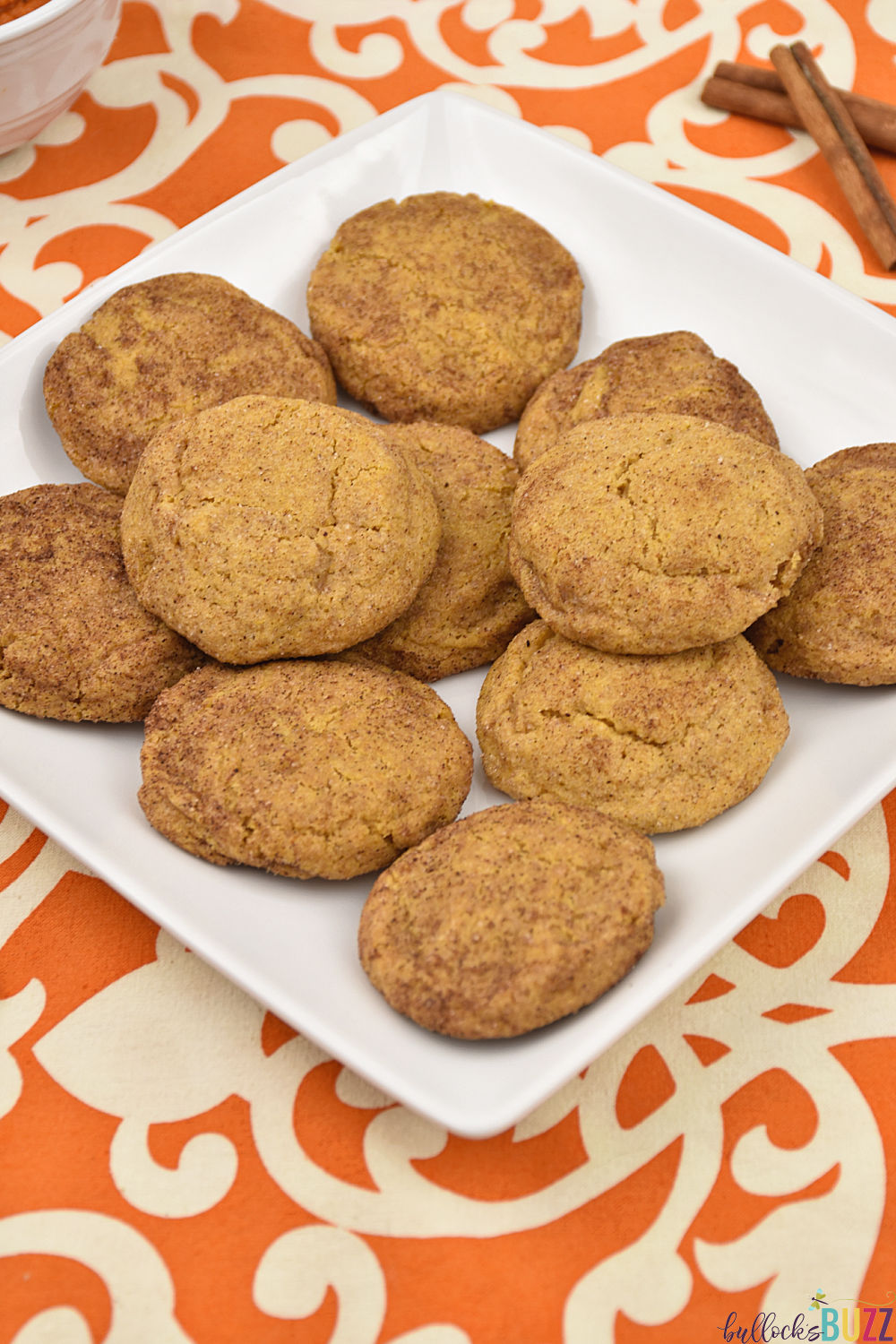 A simple recipe for soft and delicious Pumpkin Snickerdoodle Cookies.