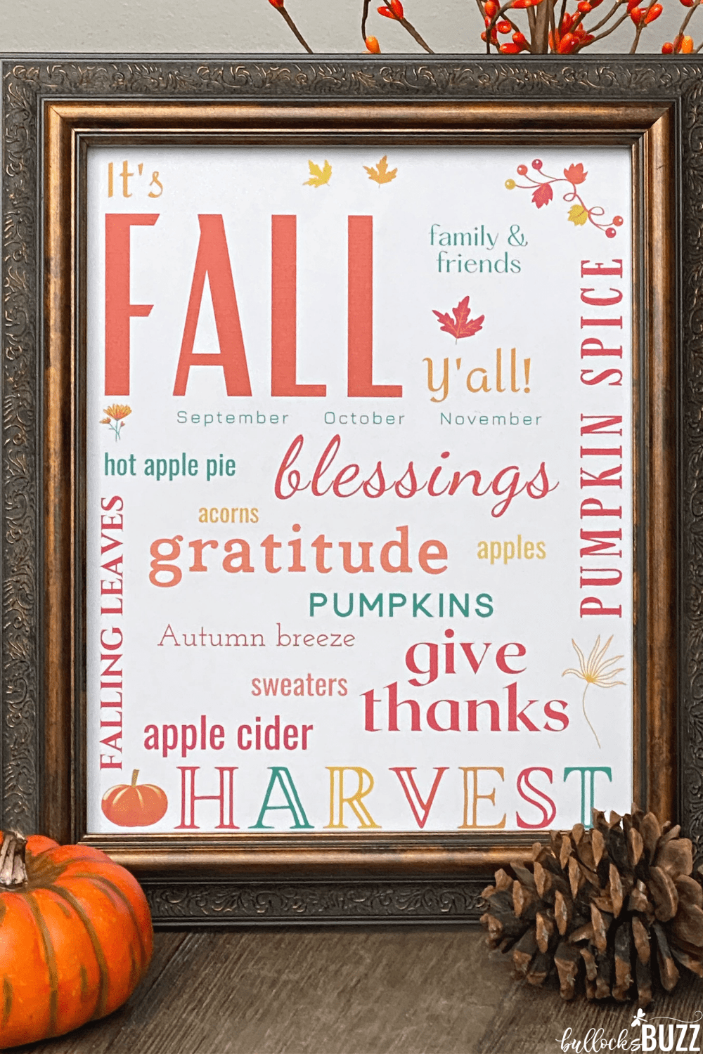 close up of fall subway art printable in frame