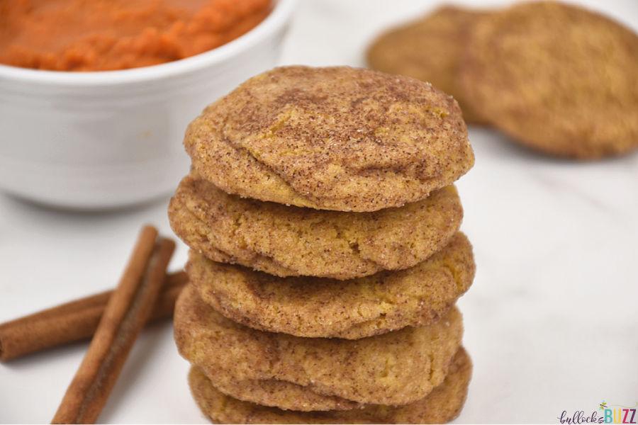Pumpkin snickerdoodle cookies stacked