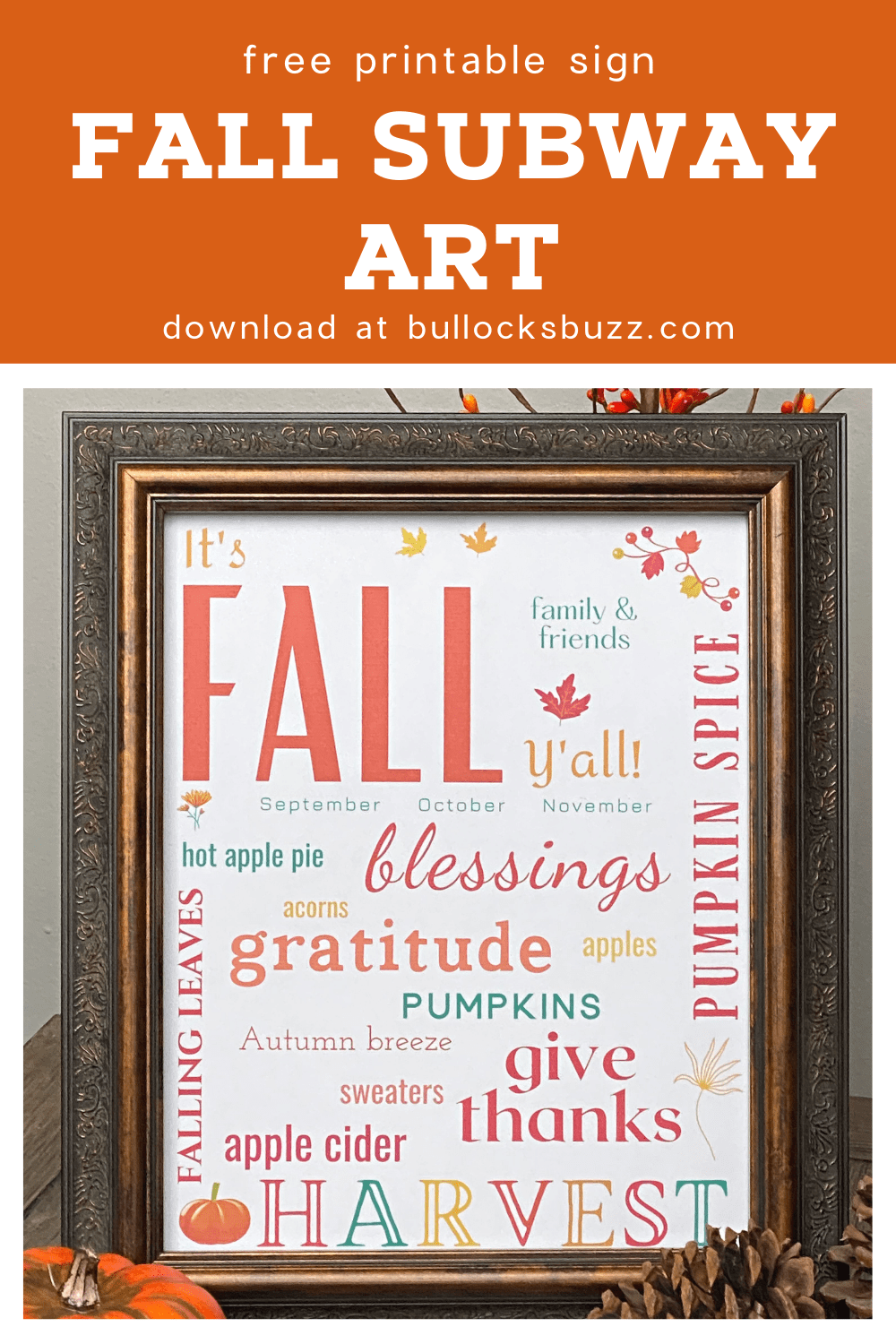 Add a little Fall to your walls with this free, festive fall subway art printable!