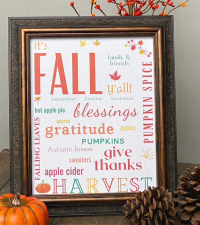 fall subway art printable in frame on table