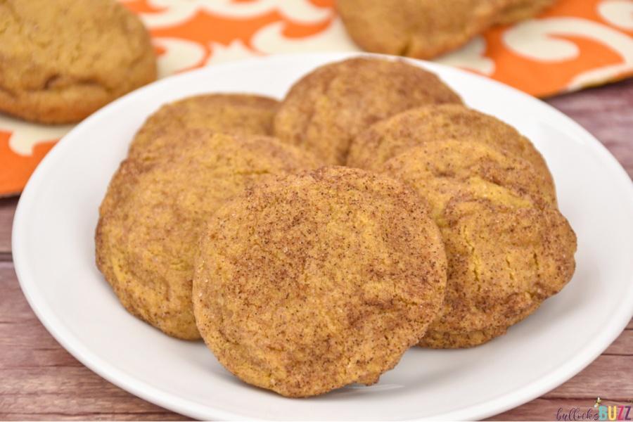 pumpkin snickerdoodle cookies on plate