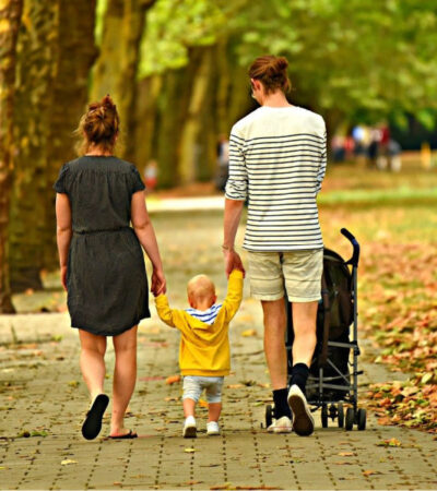 family walking in the park as a way to make your days run smoother