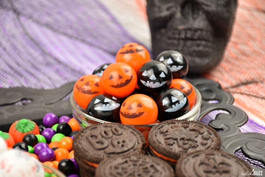 close up of cookies and gumballs on Halloween Candy Grazing Board