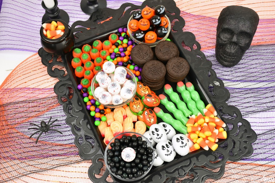 overhead shot of Halloween candy board