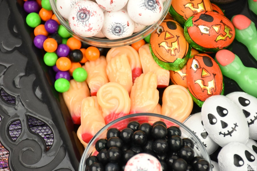 Close up of gummy candy body parts and other Halloween candies