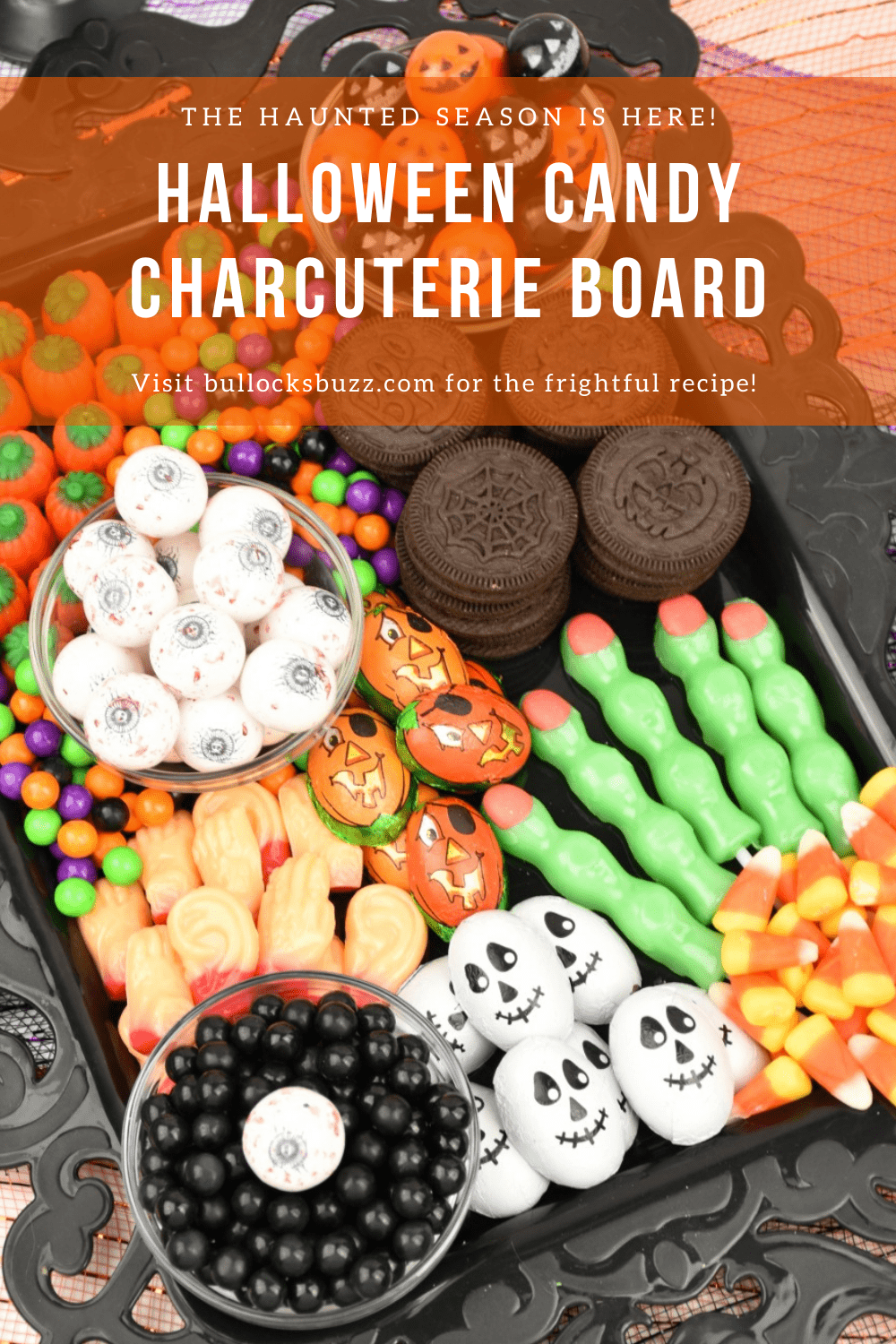 This chillingly cute Halloween Candy Charcuterie Board is one of my favorite dessert charcuterie boards to make! Filled with traditional Halloween candies, this frightfully sweet Dessert Charcuterie Board for Halloween has it all!