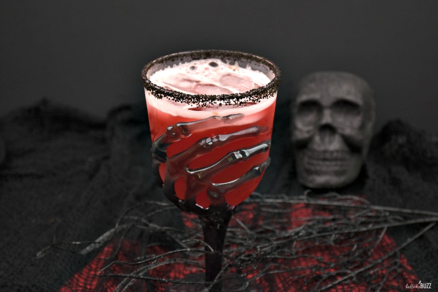 close up of red Halloween cocktail