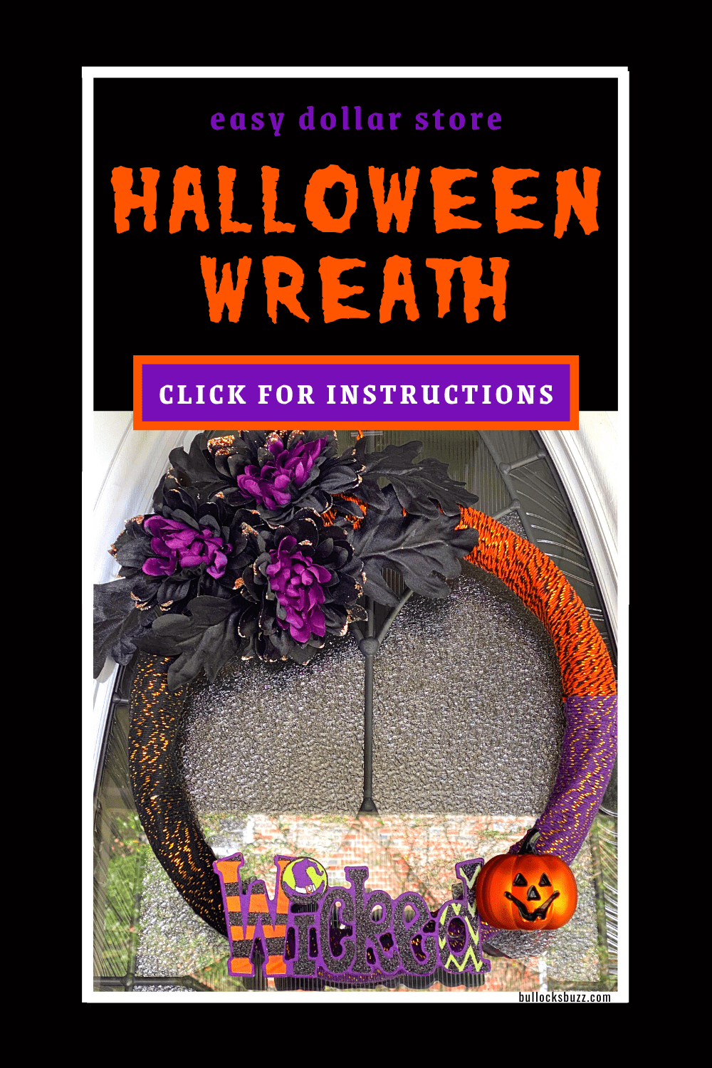 This easy and inexpensive DIY Halloween Wreath idea is a super simple dollar store decor project! It's so pretty and cute, your friends will be dying to know where you bought it!