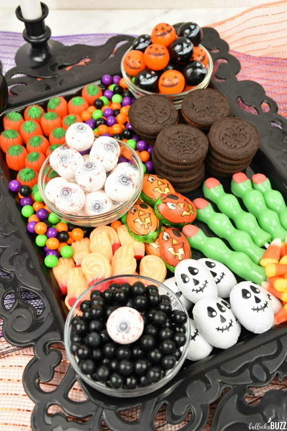 Filled with traditional Halloween candies, this frightfully sweet Halloween Candy Charcuterie Board has it all!
