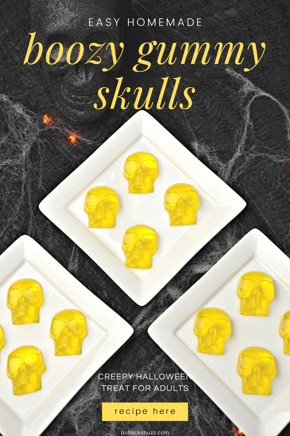 yellow skull-shaped gummies on white plate for Halloween