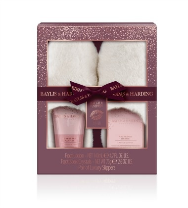 Baylis & Harding Cranberry Martini Luxury Slipper Gift Set