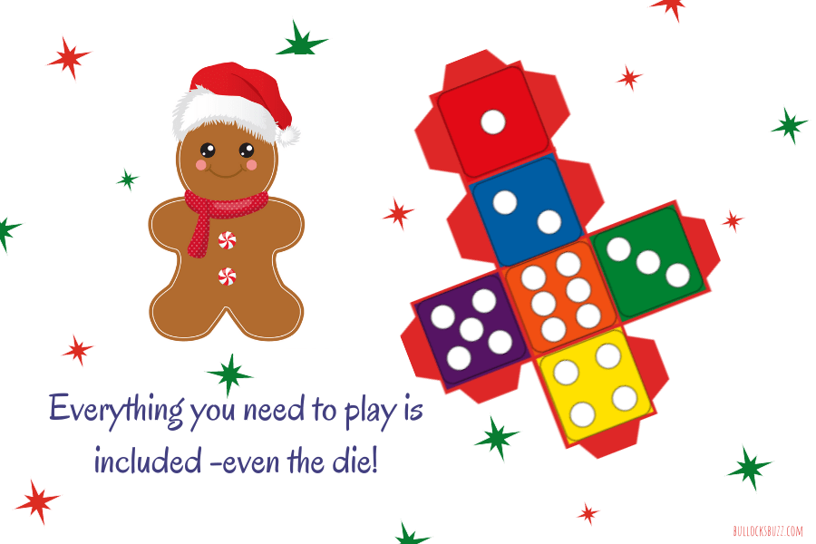 holiday game comes with everything you need including a die