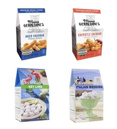 bags of Mama Geraldine's Bodacious Food Company cookies and cheese straws