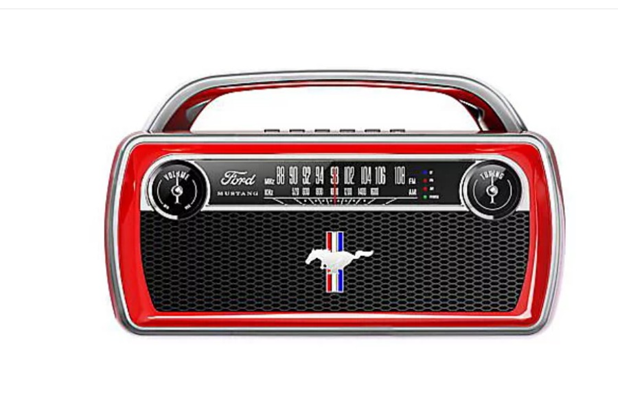 shop QVC for the holidays to find this ION Audio Ford Mustang Portable Bluetooth Retro Stereo