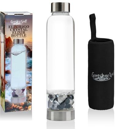 crystal elixir gemstone water bottle with sleeve