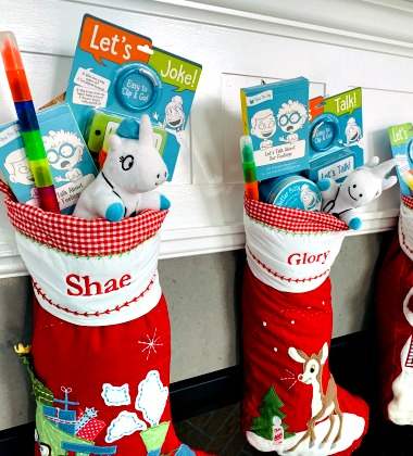 Let's Talk game in Christmas stocking