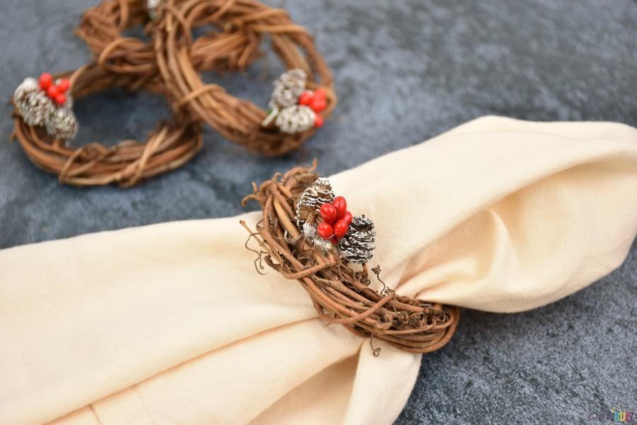 diy christmas napkin ring on napkins