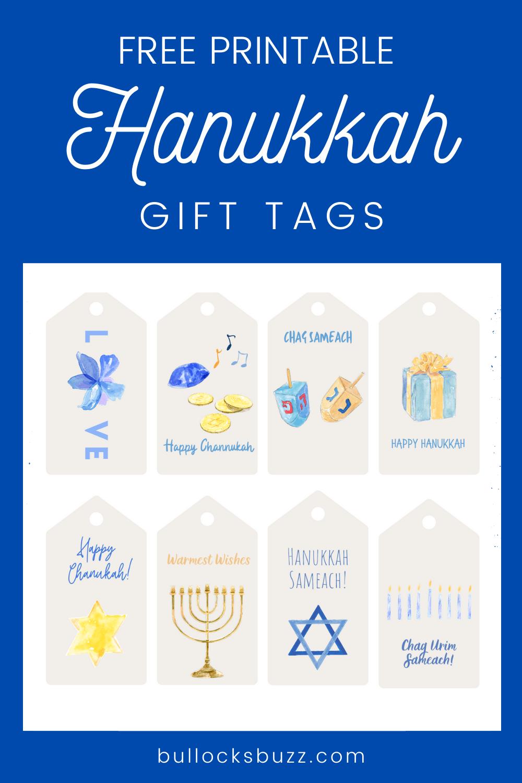 free printable Hanukkah gift tags with watercolor designs