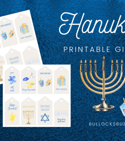 free printable watercolor Hanukkah gift tags
