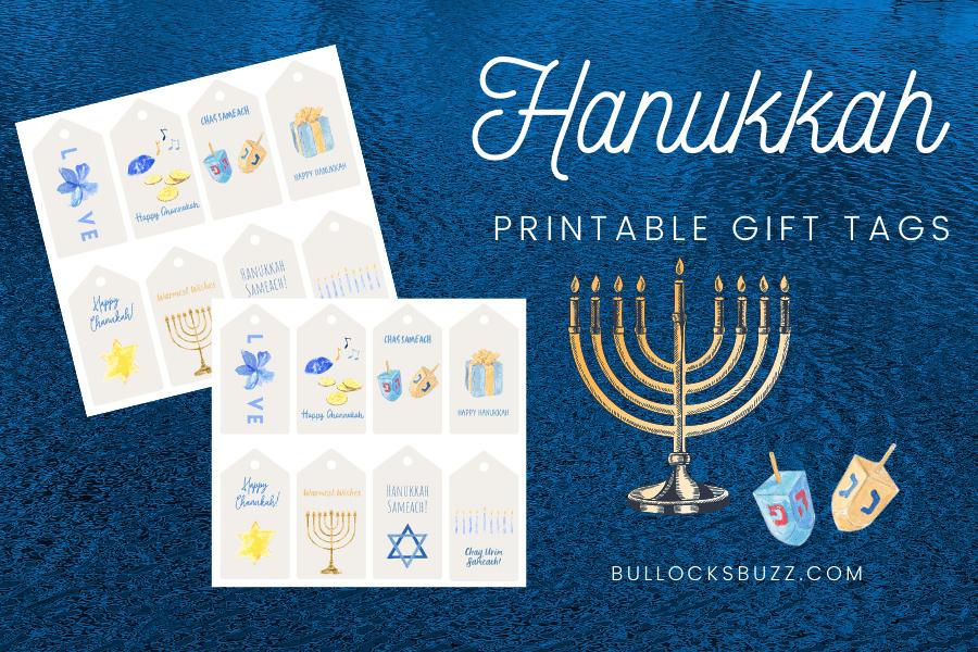 printable Hanukkah gift tags mockup