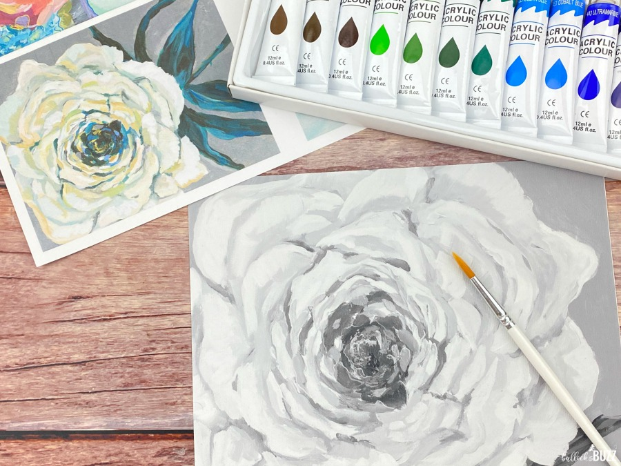 Paint by Shadows Art Kits close up of medium canvas with paint set