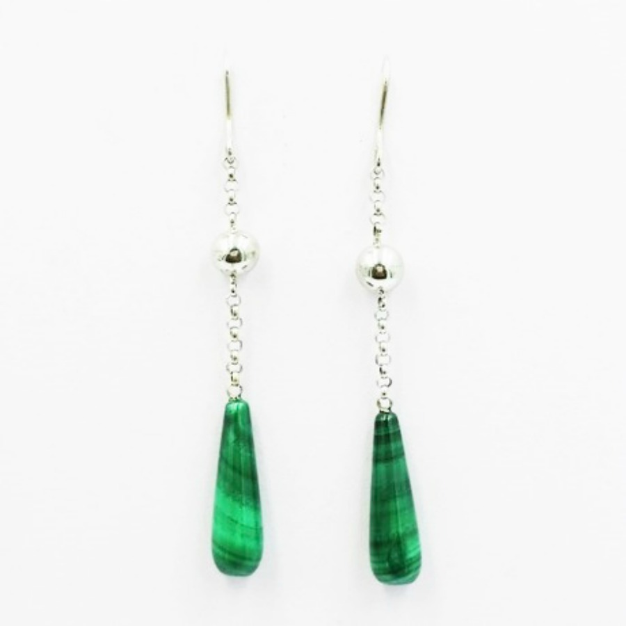 Vivalatina Jewelry Malachite White Gold Earrings 1
