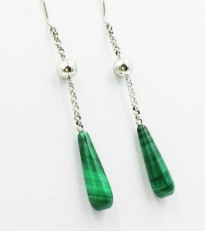 Vivalatina Jewelry Malachite White Gold Earrings