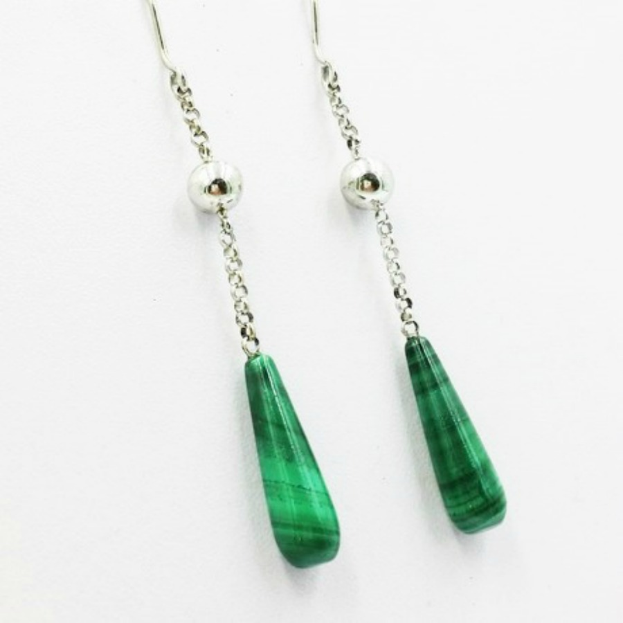 Vivalatina Jewelry Malachite White Gold Earrings