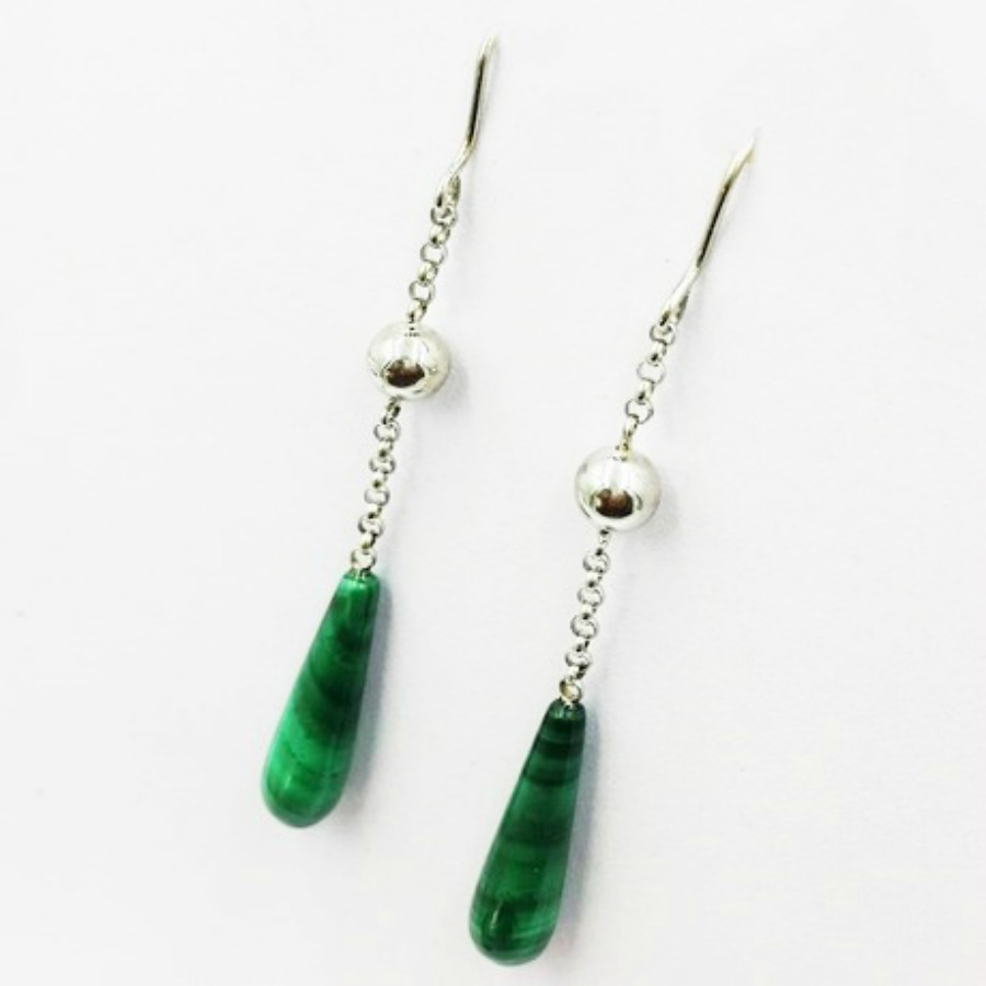 Vivalatina Jewelry Malachite White Gold Earrings 3