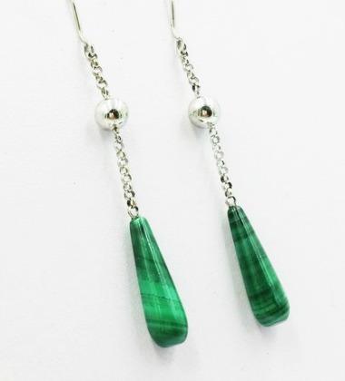 Vivalatina jewelry boucles d'oreilles malachite or blanc 18 carats earrings