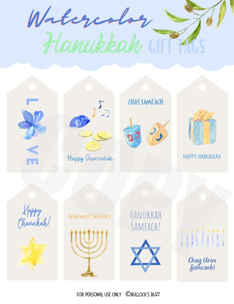 watercolor designs on these pretty gift tags