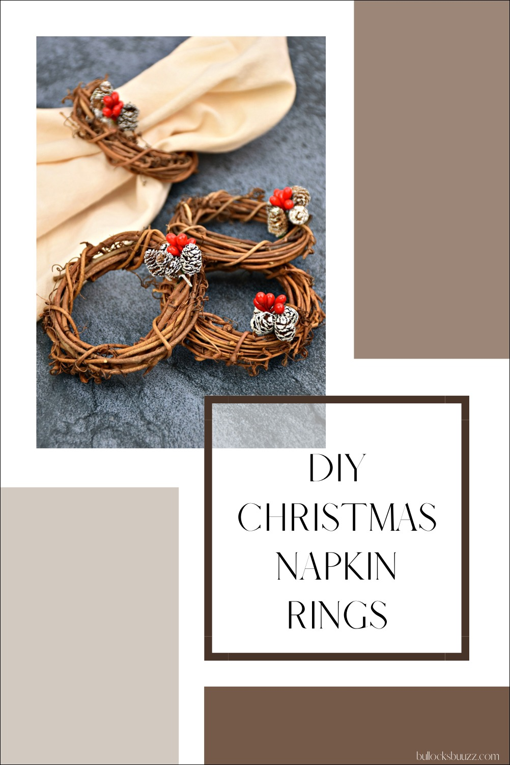 4 beautiful DIY Christmas napkin rings made of tiny grapevine wreaths and mini pinecones with berries