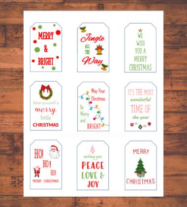 free printable Christmas Gift Tags mockup